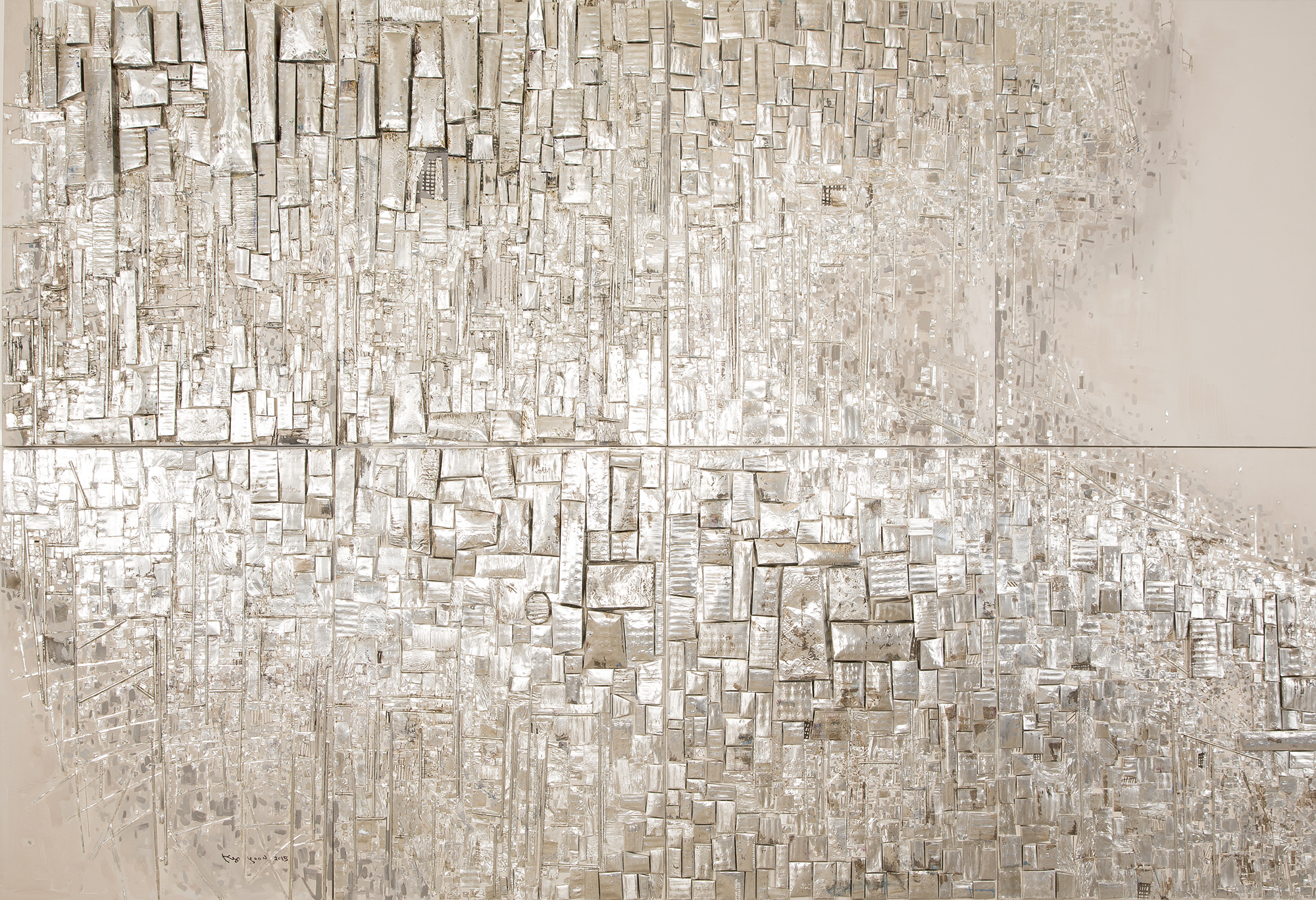 Cubic Inception 39x115 inch  Mixed media on canvas  (8 pices ) 2015