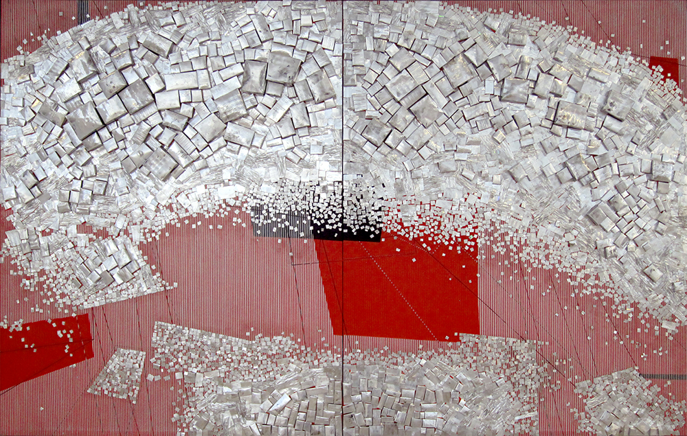 Cubic Inception 60 X 96 inch Alluminum and mixed media on canvas 2018 (Red)